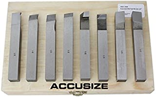 Accusize Industrial Tools 1/2'' 8 Pcs Hss Tool Bit Set, Pre-Ground for Turning and Facing Work, 2662-2004