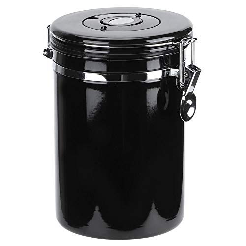 Coffee Canister,Stainless Steel Sealed Food Storage Coffee Container,Keep Your Best Coffee Beans And Grounds Fresh For Months For Ground Coffee Beans,Tea,Flour,Sugar (Black) (1#)