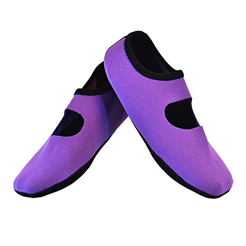 NuFoot Mary Janes Women's Shoes, Best Foldable & Flexible Flats, Slipper Socks, Travel Slippers & Exercise Shoes, Dance Shoes, Yoga Socks, House Shoes, Indoor Slippers, Purple, Small