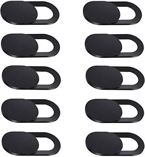 Tapa Webcam, 10pcs Tapa Camara Portatil, Webcam Cover Slider Diseño Ultra Fino Tapa Camara Movil para Todo Tipo de Ordenadores Portátiles, Tabletas y Móviles Inteligentes (Negro)