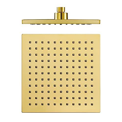 QAQA 8 Inches Shower Head High Pressure Rain Fixed Showerhead Single Function Rainfall Shower Head ABS Square Bathroom Showerhead,Titanium Gold (Color : Titanium Gold)