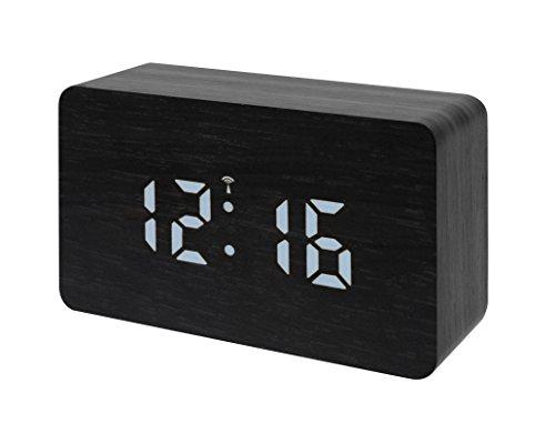 Bresser Funkwecker MyTime WBW schwarz in Holzoptik mit dimmbarer weißer LED, Datum und Temperaturanzeige