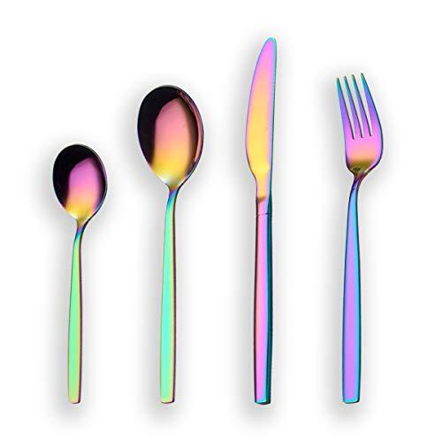 Berglander 24 piezas de titanio color del arco iris cubiertos juego de cubiertos, 24 piezas de colores cubiertos juego, Mutil color cubiertos juegos de cubiertos, servicio para 6 (arco iris brillante)