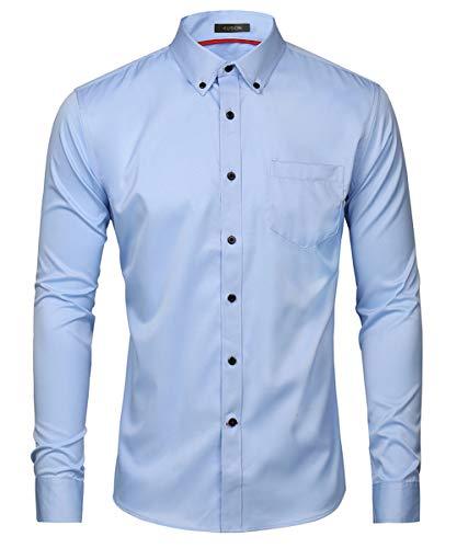 Kuson Kuson Herren Business Hemd Slim Fit für Freizeit Hochzeit Reine Farbe Hemden Langarmhemd Himmelblau S