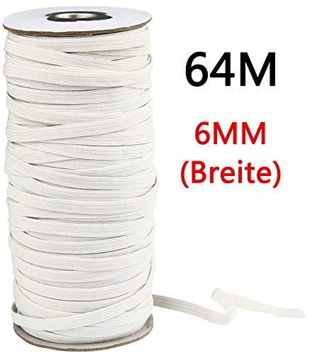 Cordón goma Elástico Bandas 6 mm de ancho,cordón elástico de alto rendimiento para costura y manualidades, banda plana elástica en carrete para ropa y gorro de goma de 64 m de largo, blanco