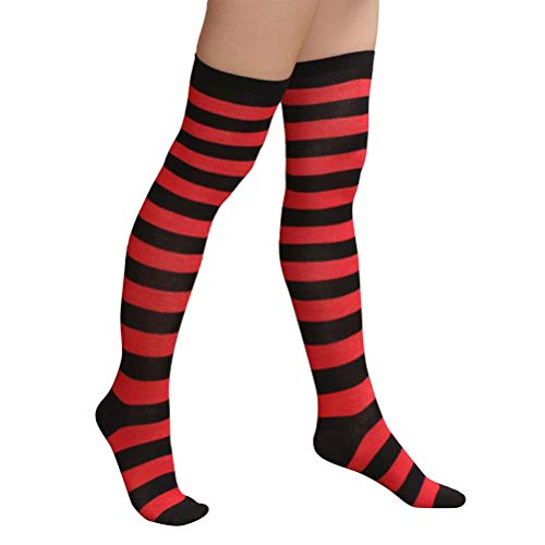 BESTOYARD Medias de rayas rojas y negras de navidad sobre calcetines hasta la rodilla para mujeres niñas Tamaño libre