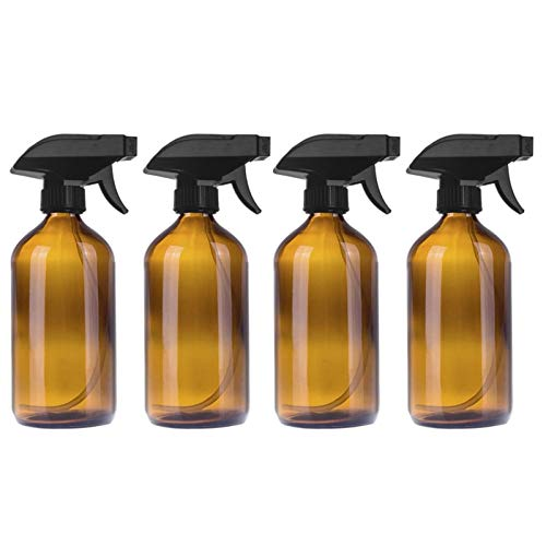 Kunyun 250/500ml Large Empty Amber Glass Bottles with Black Trigger Mist Stream Spray Storage Cap for Essential Oil Cleaning Product. (Size : 4PCS 500ML)