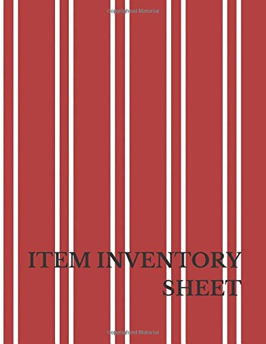 Item Inventory Sheet: Large 8.5 Inches By 11 Inches