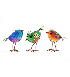glass birds garden decor set of 3