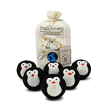 Friendsheep Wool Dryer Balls, Organic Fair Trade Reusable Fabric Softener, Extra Large, 6 Pack, Black Penguin - Cool Friends