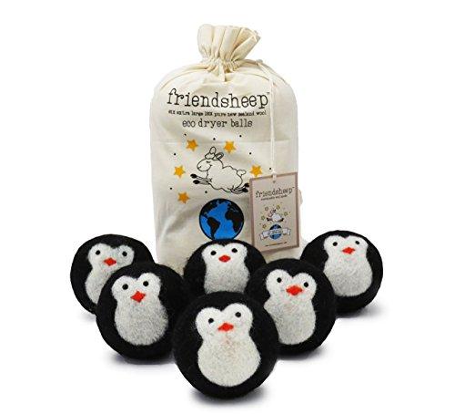 Asciuga le palle di lana organica Eco - nero Penguin - confezione da 6-100% Handmade, Fair Trade, organico, nessun residuo di stoffa - Premium qualità'Cool Friends'