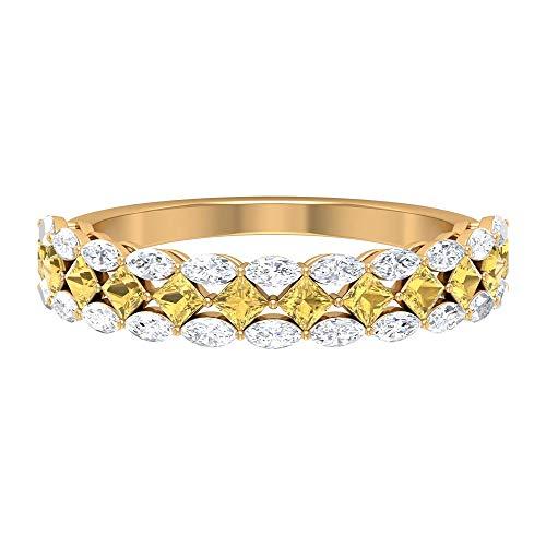 Anillo citrino de corte princesa de 3/4 quilates, 3/4 quilates talla marquesa HI-SI diamante banda de eternidad, banda ancha de oro (AAA), 14K Oro amarillo, Size:EU 62