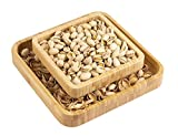 Pistachio Snack Bowl, Double Dish Holder Bowl Pedestal and Sunflower Seed Nut Bowl with Shell Storage, Magnetic Holder To Hold Together, 9.45 x 9.45 x 2.76 Gute Kitchen