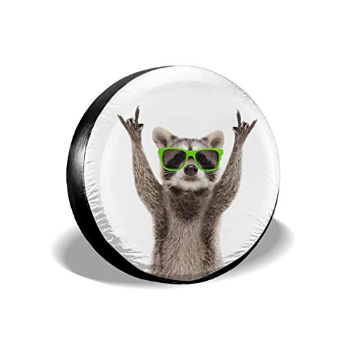Funny Raccoon Green Sunglasses Spare Tire Cover Waterproof Dust-Proof UV Sun Wheel Tire Cover Fit for Jeep,Trailer, RV, SUV and Many Vehicle 15 Inch