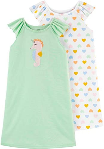 Carter s Girls 2 Pack Nightgowns 4 5 Green White product image