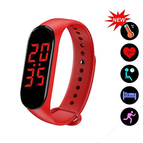 Slimme armband met thermometer, Fitness Trackers met meting van lichaamstemperatuur, Activity Tracker voor slaapmonitor Hartslag Bloedzuurstof en calorieën,Red