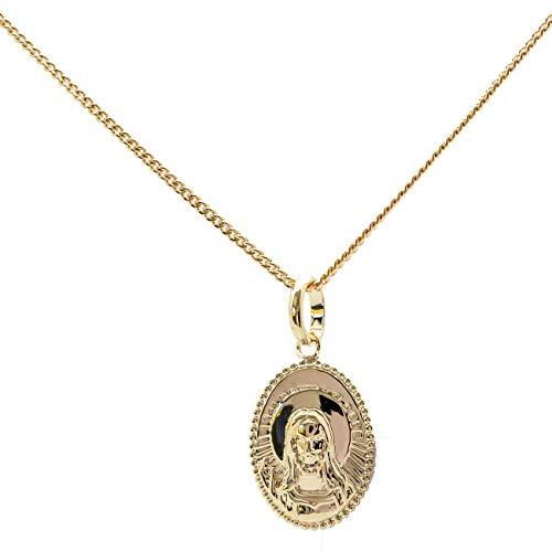 Medalla Jesus Cristo y collar 40cm en chapado en oro collar bautizo o nacimiento grabado posible Kit incluye y cadena de 40cm para mujer bebé y niños
