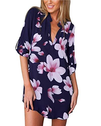 ZANZEA Damen V-Ausschnitt Chiffon Langarm Bluse Oversize Blumen T-Shirt Lose Tops 01-marine3 EU 36/US 4