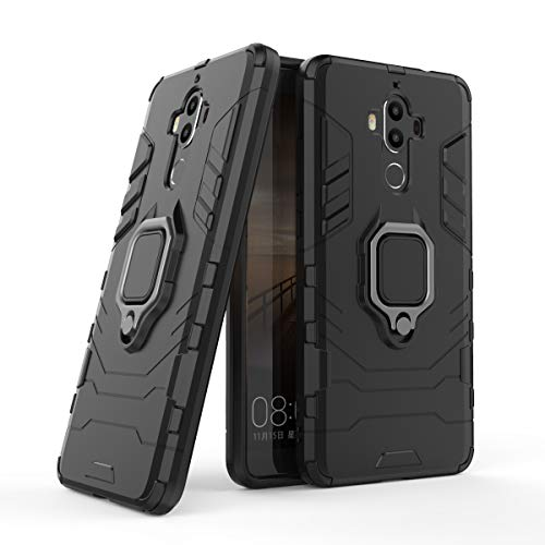 Cocomii Black Panther Ring Huawei Mate 9 Case, Slim Thin Matte Vertical & Horizontal Kickstand Ring Grip Reinforced Drop Protection Fashion Bumper Cover Compatible with Huawei Mate 9 (Jet Black)