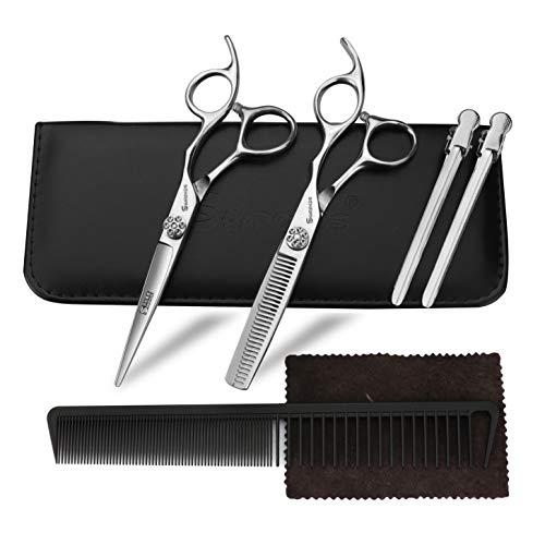 Sharonds 6 pulgadas tijeras de peluquería kits de acero inoxidable tijeras de corte de pelo conjunto adelgazamiento tijeras de pelo profesional peluquero salón hogar kit