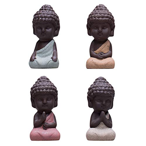 Snobbery Cute Small Buddha Statue Monk Figurine Outdoor Home Decor - 4pcs (Large)