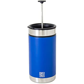 BruTrek Steel Toe French Press Coffee Travel Mug - Bru-Stop Technology No Grinds in Coffee, Mountain Lake Blue, 20 oz Stainless Steel with Non-Slip Texture Cup