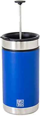 BruTrek Steel Toe French Press Coffee Travel Mug - Bru-Stop Technology No Grinds in Coffee, Mountain Lake Blue, 20 oz Stainle