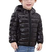 Happy Cherry - Chaqueta de Invierno Plumas para Niños Niñas con Capucha Down Jacket Suave Viene con Bolso Color Negro - 150cm