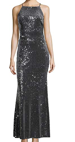 Xscape Womens Velvet Formal Evening Dress Gray 6