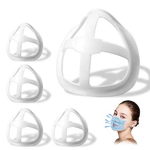 3D Face Inner Bracket for Comfortable Breathing,Face Internal Support Frame|Breathe Cup Lipstick Protector Keep Fabric off Mouth to Create More Breathing Space[Washable|Reusable|Translucent,5Pcs]