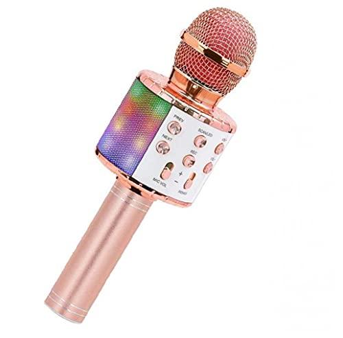 RRunzfon KTV Wireless Micrófono Player Portátil Player Playero Cantante con Luces LED Rosy Golden, Auriculares/Auriculares