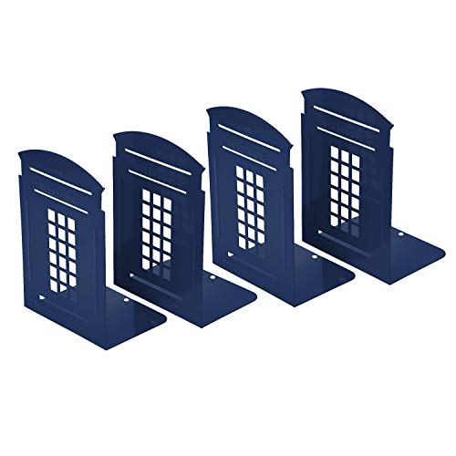 Bookends Blue, MerryNine 2 Pair Heavy Metal Non Skid Sturdy Telephone Booth Decorative Gift for Bookshelf Office School Library (London-Blue)