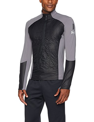 Under Armour Outerwear Men's Trail Run Hybrid 1/2 Zip Jacket, Black, X-Large