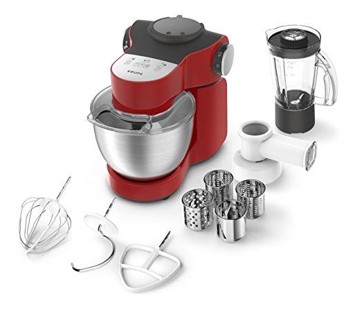 Krups KA2535 Küchenmaschine Master Perfect Plus, 4 L, 700 W, Schnitzelwerk und Mixer, edelstahl/rot