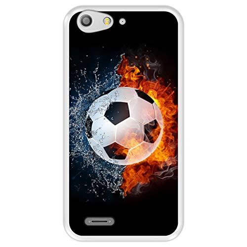 Hapdey Funda Transparente para [ ZTE Blade V6 - D6 ] diseño [ Fuego y Agua, balón de Futbol ] Carcasa Silicona Flexible TPU