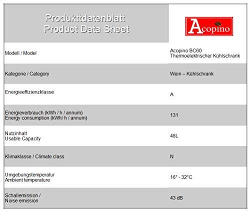 Acopino-Weinkhlschrank-Getrnkekhlschrank-BC60-16-Flaschen-Digitalanzeige-70-Watt-3-Flaschensedimente-11-18C-hhenverstellbar