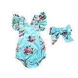 Nouveau-né Baby Girl Romper Floral Combinaison Jumpsuit Bouton Été Rose Rose sans Manches Robe Enfant Toddler Bébé Vêtements 2PCS Set (Color : Blue Flowers, Size : 6-12 Months)
