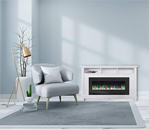 CAMBRIDGE San Jose 58 in. Freestanding Electric Heater TV Stand 50 in. Multi-Color Insert and LED Crystal Rock Display, CAM5735-1WHT Fireplace, White/Black