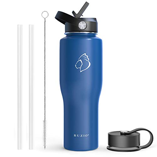 BUZIO Stainless Steel Water Bottle Vacuum Insulated (Cold for 48 Hrs, Hot for 24 Hrs), Cobalt 32oz Tumbler Travel Flask with Straw Lid and Flex Cap, Fit in Any Car Cup Holder