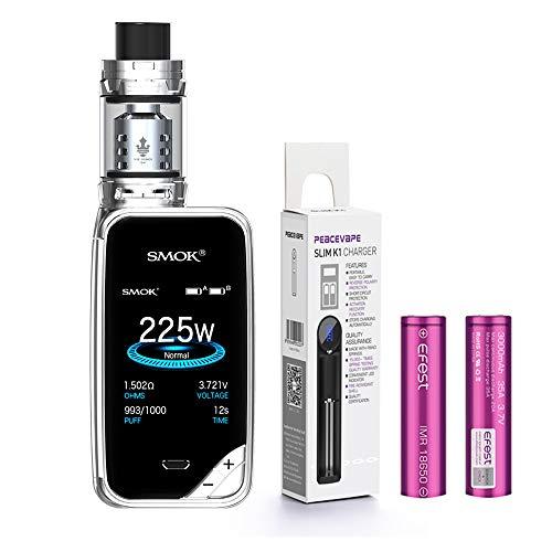 AUTÉNTICO SMOK X PRIV Kit 225W TFV12 PRINCE 2mL Tank Cigarrillo electrónico (Cromo) SMOK XPRIV con 2 X EFEST 3000 mAh Batería y cargador de 18650 batería PEACEVAPE™ Sin Tabaco - Sin Nicotina