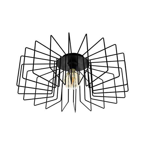EGLO Lámpara de techo Tremedal, 1 lámpara de techo moderna de acero, lámpara de salón en negro, lámpara de cocina, lámpara de pasillo con casquillo E27