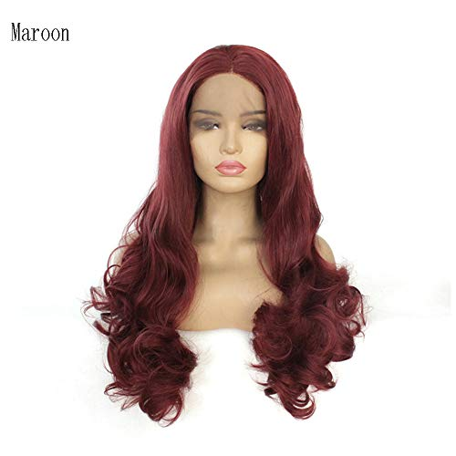 QMMD Großen Wellige Perücken Damen, 24 Zoll Langen Lockigen Lace Front Perücke, 130% Density Perücke, Mode Haarfarbe,Maroon
