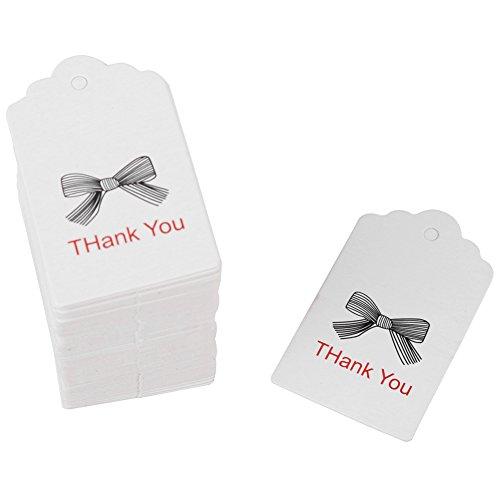 Hitland - Etiquetas de regalo de boda, 100 unidades, hechas a mano, etiquetas de agradecimiento para colgar, color White-1