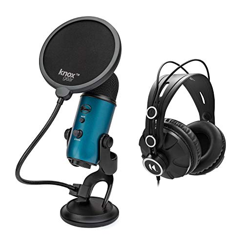 Blue Microphones Yeti Teal USB Microphone Bundle with Studio Headphones and Knox Pop Filter