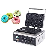 12pcs Commercial Donut Machine Doughnut Baker Donut Maker Machine Non-stick 5 Minutes Restaurant Home Use Stainless Steel Body 1500W