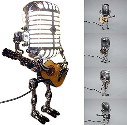 Vintage Microphone Robot Touch Dimmer Lamp Table Lamp Robot Desk Lamp Lamp Guitar Retro Cool Cute Table Lamp for Bedroom, Living Room, Office