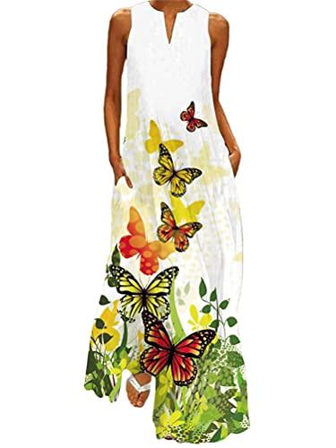 Onsoyours Vestidos Largos Verano Mujer Vestidos Playa Vestido sin Mangas Estampados Florales Vestido con Cuello en V Elegante Escote Fiesta Cóctel Falda Larga I Blanco 02 L