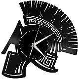 Obra de Arte Casco Espartano Reloj de Pared de Vinilo Reloj de Vinilo Reloj Colgante de Pared Obra de Arte Decoración de habitación única Regalo Hecho a Mano