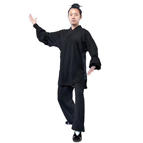 G-like Tai Chi Uniform Kleidung - Qi Gong Kampfkunst Wing Chun Shaolin Kung Fu Training Dao Bekleidung - Hanf (Schwarz, XL)
