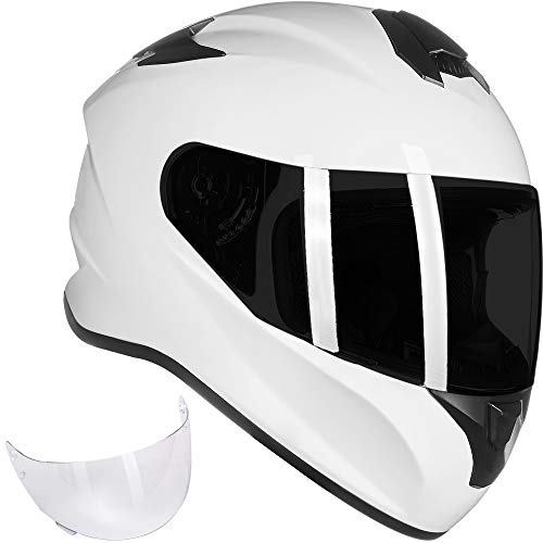 ILM Full Face Motorcycle Street Bike Helmet with Enlarged Air Vents, Free Replacement Visor for Men Women DOT Approved (White, Large)